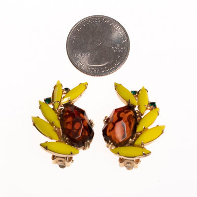 Vintage Tara Yellow and Brown Rhinestone Earrings by Tara - Vintage Meet Modern - Chicago, Illinois
