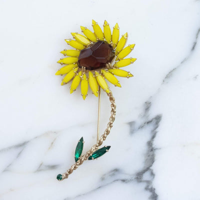 Vintage Tara Yellow and Amber Rhinestone Sunflower Brooch by tara - Vintage Meet Modern - Chicago, Illinois
