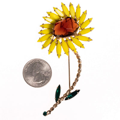 Vintage Tara Yellow and Amber Rhinestone Sunflower Brooch by tara - Vintage Meet Modern Vintage Jewelry - Chicago, Illinois - #oldhollywoodglamour #vintagemeetmodern #designervintage #jewelrybox #antiquejewelry #vintagejewelry