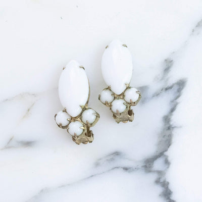 Vintage White Milk Glass Statement Earrings by Unsigned Beauties - Vintage Meet Modern Vintage Jewelry - Chicago, Illinois - #oldhollywoodglamour #vintagemeetmodern #designervintage #jewelrybox #antiquejewelry #vintagejewelry