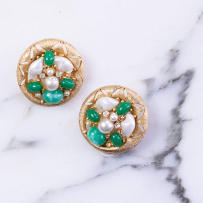 Vintage BSK Jade Lucite and Faux Pearl Cluster Medallion Statement Earrings by BSK - Vintage Meet Modern - Chicago, Illinois