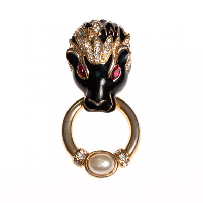 Vintage Lion Doorknocker Brooch Black Enamel with Pave Crystals and Ruby Red Crystal Eyes by 1980s - Vintage Meet Modern - Chicago, Illinois