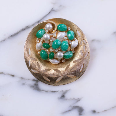 Vintage BSK Jade Lucite and Faux Pearl Medallion Brooch by BSK - Vintage Meet Modern - Chicago, Illinois