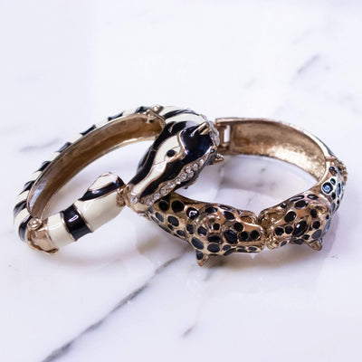Vintage Double Leopard Hinged Bracelet by 1960s - Vintage Meet Modern - Chicago, Illinois