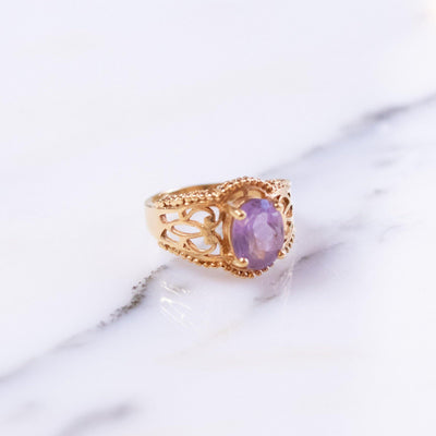 Vintage Amethyst Crystal Ring set in 18kt Gold Plating by 1980s - Vintage Meet Modern Vintage Jewelry - Chicago, Illinois - #oldhollywoodglamour #vintagemeetmodern #designervintage #jewelrybox #antiquejewelry #vintagejewelry