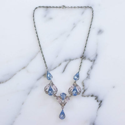 Vintage 1950s Silver Filigree Lavalier Necklace with Blue Crystals by Sterling Silver - Vintage Meet Modern Vintage Jewelry - Chicago, Illinois - #oldhollywoodglamour #vintagemeetmodern #designervintage #jewelrybox #antiquejewelry #vintagejewelry