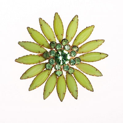 Vintage Green Rhinestone Flower Brooch by 1950s - Vintage Meet Modern - Chicago, Illinois