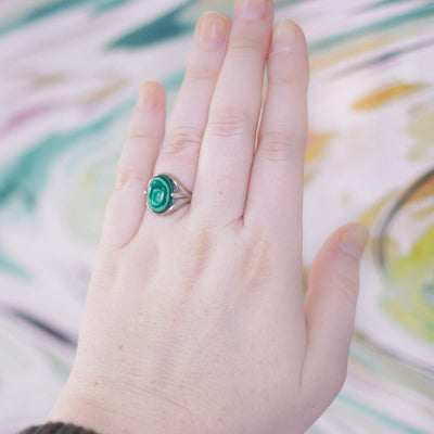 Vintage Malachite and Sterling Silver Ring by Sterling Silver - Vintage Meet Modern Vintage Jewelry - Chicago, Illinois - #oldhollywoodglamour #vintagemeetmodern #designervintage #jewelrybox #antiquejewelry #vintagejewelry