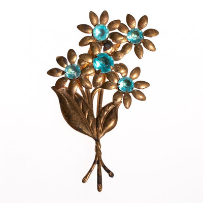 1940s Brass Flower Brooch With Aqua Lucite Crystals by 1940s - Vintage Meet Modern - Chicago, Illinois