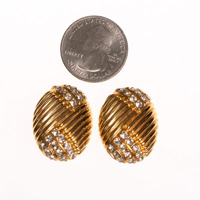 Vintage Joan Rivers  Gold Earrings Line Design with Pave Rhinestones by Joan Rivers - Vintage Meet Modern - Chicago, Illinois