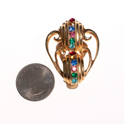 Vintage 1940s Gold Dress Clip with Colorful Rhinestones by 1940s - Vintage Meet Modern - Chicago, Illinois