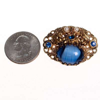 Vintage West Germany Small Givere Blue Glass, Faux Pearl Gold Filigree Brooch by West Germany - Vintage Meet Modern Vintage Jewelry - Chicago, Illinois - #oldhollywoodglamour #vintagemeetmodern #designervintage #jewelrybox #antiquejewelry #vintagejewelry