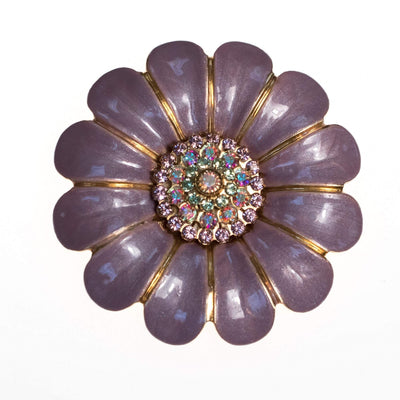 Vintage Liz Palacios Lavender Flower Brooch with Aurora Borealis Crystal Center by Liz Palacios - Vintage Meet Modern - Chicago, Illinois