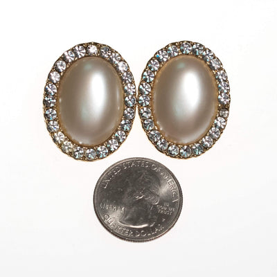 Vintage Oval Large Pearl and Diamante Crystal Earrings by 1980s - Vintage Meet Modern - Chicago, Illinois