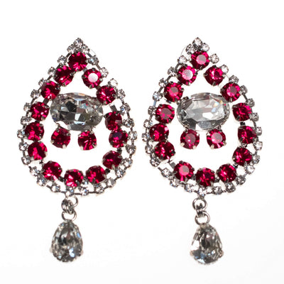 Vintage Huge Ruby Rhinestone Mogul Style Statement Earrings by 1990s - Vintage Meet Modern - Chicago, Illinois