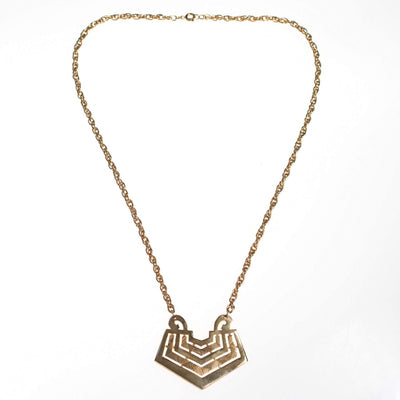 Vintage 1960s Gold Chevron Pendant Necklace by 1960s - Vintage Meet Modern - Chicago, Illinois