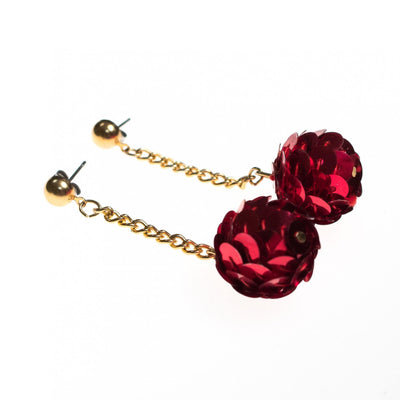 Vintage Red Sequin Dangling Bon Bon Earrings by 1970s - Vintage Meet Modern - Chicago, Illinois