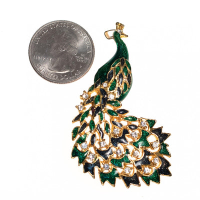 Vintage Green and Blue Bejeweled Peacock Brooch by 1970s - Vintage Meet Modern - Chicago, Illinois