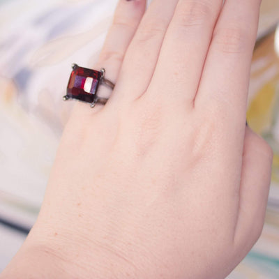 Vintage 1950s Red Crystal Ring by 1950s - Vintage Meet Modern - Chicago, Illinois