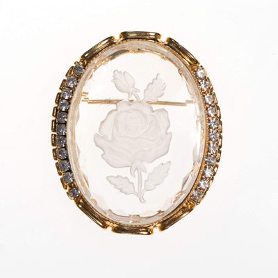 Vintage Etched Floral Cameo Style Brooch by 1950s - Vintage Meet Modern Vintage Jewelry - Chicago, Illinois - #oldhollywoodglamour #vintagemeetmodern #designervintage #jewelrybox #antiquejewelry #vintagejewelry