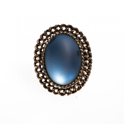 Vintage Matte Blue Crystal Ring with Gold Setting by 1950s - Vintage Meet Modern - Chicago, Illinois