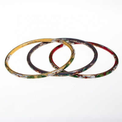 Vintage Set of Three Colorful Cloisonne Bangle Bracelets Red, Yellow, Purple by Cloisonne - Vintage Meet Modern - Chicago, Illinois