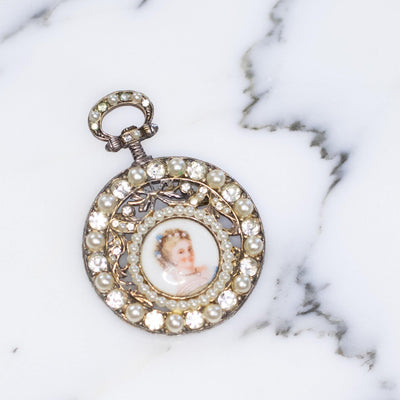 Vintage 1950s Faux Pocket Watch Brooch Decorated with Ladies Portrait in Limoges with Faux Pearls and Diamante Accents by Limoges - Vintage Meet Modern - Chicago, Illinois