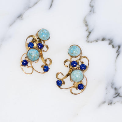 Vintage Turquoise and Lapis Art Glass Statement Earrings Gold Scroll Design by 1950s - Vintage Meet Modern Vintage Jewelry - Chicago, Illinois - #oldhollywoodglamour #vintagemeetmodern #designervintage #jewelrybox #antiquejewelry #vintagejewelry