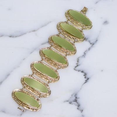 Vintage 1950s Light Green Thermoset Wide Panel Bracelet by 1950s - Vintage Meet Modern - Chicago, Illinois