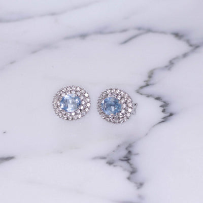 Vintage Icy Blue Topaz Crystal and CZ Halo Style Earrings Set In Sterling Silver by Sterling Silver - Vintage Meet Modern Vintage Jewelry - Chicago, Illinois - #oldhollywoodglamour #vintagemeetmodern #designervintage #jewelrybox #antiquejewelry #vintagejewelry