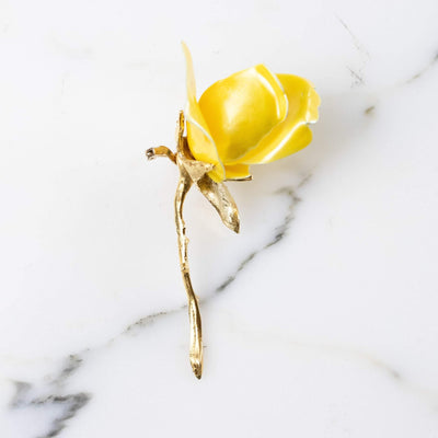 Vintage 1950s Long Stem Yellow Rose Brooch with Pearl Center by 1950s - Vintage Meet Modern Vintage Jewelry - Chicago, Illinois - #oldhollywoodglamour #vintagemeetmodern #designervintage #jewelrybox #antiquejewelry #vintagejewelry