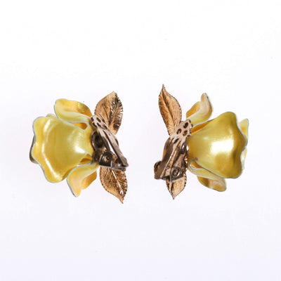 Vintage Yellow Rose Earrings by 1950s - Vintage Meet Modern - Chicago, Illinois