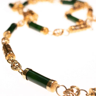 Vintage 1970s Nephrite Jade and Asian Character Barrel Bead Necklace by 1970s - Vintage Meet Modern - Chicago, Illinois