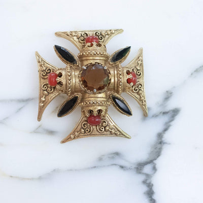 Vintage Florenza Maltese Cross Brooch/Pendant with Onyx Marquise Rhinestones, Carnelian Glass Cabochons and Smokey Crystal Crystal by Florenza - Vintage Meet Modern - Chicago, Illinois
