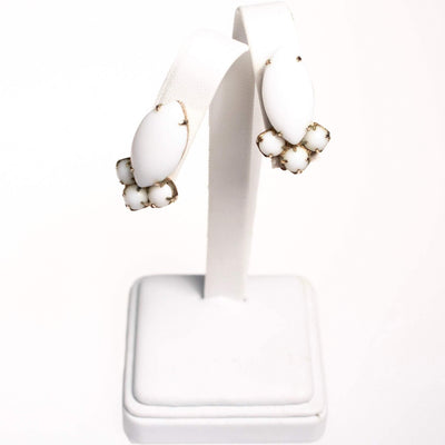 Vintage White Milk Glass Statement Earrings by 1950s - Vintage Meet Modern - Chicago, Illinois