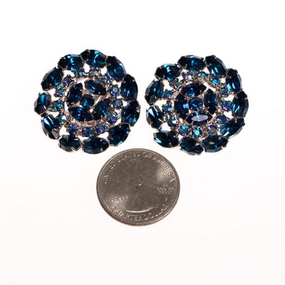 Vintage Sapphire Blue and Aurora Borealis Rhinestone Medallion Earrings by 1950s - Vintage Meet Modern Vintage Jewelry - Chicago, Illinois - #oldhollywoodglamour #vintagemeetmodern #designervintage #jewelrybox #antiquejewelry #vintagejewelry
