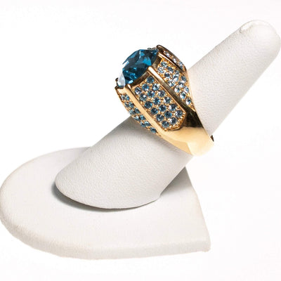 Vintage Kenneth Jay Lane Blue Crystal and Pave Statement Ring by Kenneth Jay Lane - Vintage Meet Modern - Chicago, Illinois