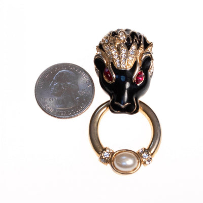 Vintage Lion Doorknocker Brooch Black Enamel with Pave Crystals and Ruby Red Crystal Eyes by 1980s - Vintage Meet Modern Vintage Jewelry - Chicago, Illinois - #oldhollywoodglamour #vintagemeetmodern #designervintage #jewelrybox #antiquejewelry #vintagejewelry