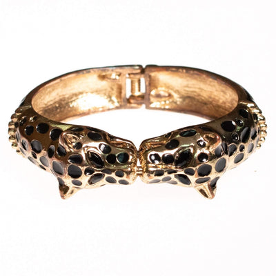 Vintage Double Leopard Hinged Bracelet by Unsigned Beauty - Vintage Meet Modern Vintage Jewelry - Chicago, Illinois - #oldhollywoodglamour #vintagemeetmodern #designervintage #jewelrybox #antiquejewelry #vintagejewelry