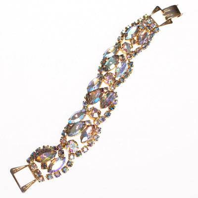 Vintage 1950s Wide Aurora Borealis Crystal Bracelet by 1950s - Vintage Meet Modern - Chicago, Illinois