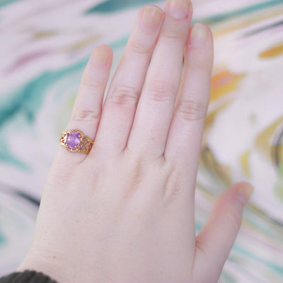 Vintage Amethyst Crystal Ring set in 18kt Gold Plating by 1980s - Vintage Meet Modern - Chicago, Illinois