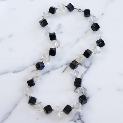 Vintage 1950s Square Clear and Black Chunky Lucite Beaded Necklace by Lucite - Vintage Meet Modern - Chicago, Illinois