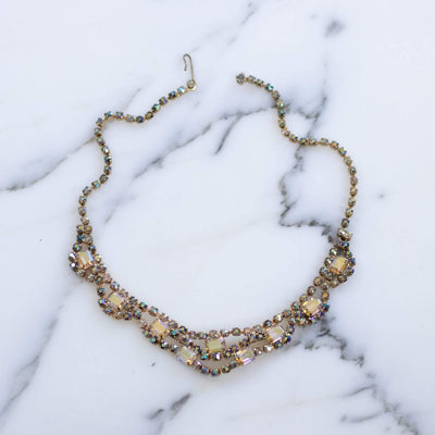 Vintage Unsigned Weiss Aurora Borealis Necklace by Weiss - Vintage Meet Modern Vintage Jewelry - Chicago, Illinois - #oldhollywoodglamour #vintagemeetmodern #designervintage #jewelrybox #antiquejewelry #vintagejewelry