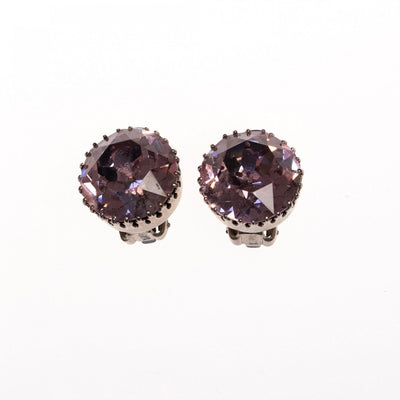 Vintage Austria Alexandrite Headlight Crystal Earrings by Austria - Vintage Meet Modern - Chicago, Illinois
