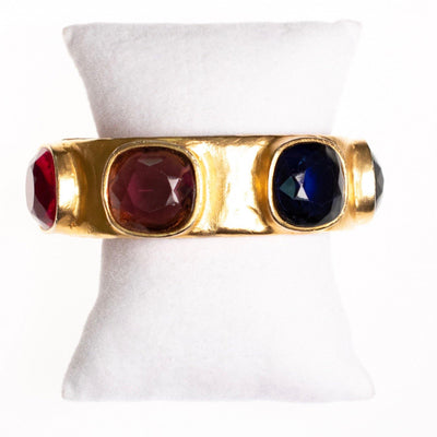 Vintage Kenneth Jay Lane Bejewled Royal Color Gold Cuff Bracelet by Kenneth Jay Lane - Vintage Meet Modern - Chicago, Illinois