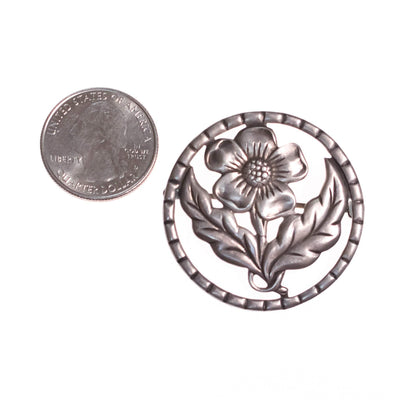1940s Sterling Silver Flower  Medallion Brooch by Sterling Silver - Vintage Meet Modern - Chicago, Illinois