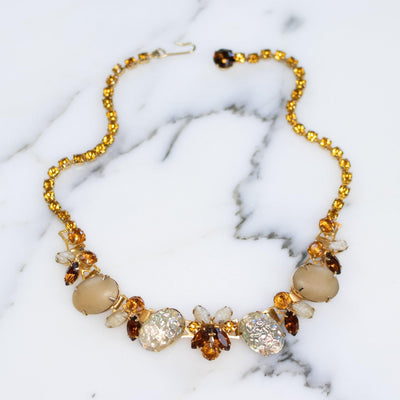 Vintage Juliana Champagne, Amber, and Smoky Crystal Necklace by Juliana - Vintage Meet Modern - Chicago, Illinois