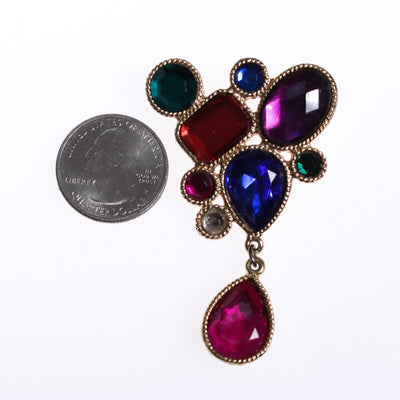 Vintage 1980s Jewel Tone Brooch Red Green Sapphire Blue Purple Rhinestones by 1980s - Vintage Meet Modern - Chicago, Illinois