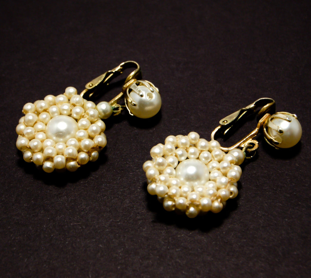 1940's Delicate Faux Pearl Dangling Earrings, Earrings - Vintage Meet Modern