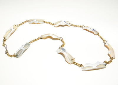 Beachy Pearl Shell and Gold Chain Necklace, Necklaces - Vintage Meet Modern